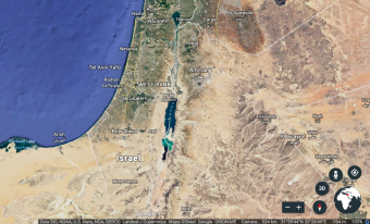 Satellite image of Israel and the West Bank (source: Google Earth)