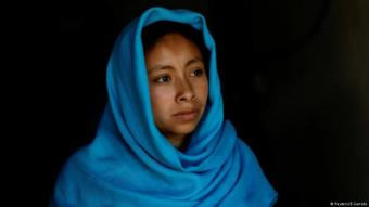 20-year-old Anisa from San Cristobal de las Casas, a Muslim of the Tzotzil-Maya ethnic group, poses for a photograph that shows her in a hijab made from a traditional Mayan scarf