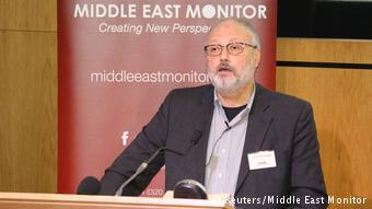 Saudi dissident Jamal Khashoggi speaks at an event hosted by Middle East Monitor in London on 29 September 2018 (photo: Reuters/Middle East Monitor)
