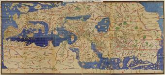 A reproduction of Muhammad al-Idrisi's world map in the Book of Roger (1154)
