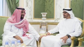 Saudi Defence Minister and Deputy Crown Prince Mohammed bin Salman (left) meets Crown Prince of Abu Dhabi and Deputy Supreme Commander of the UAE Armed Forces, Mohammed bin Zayed Al Nahyan (right) during the GCC Defence Ministerial summit in Riyadh on 20 April 2016 (photo: picture-alliance/AA/B. Algaloud)