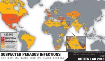 Pegasus spyware spread (source: CitizenLab 2018)