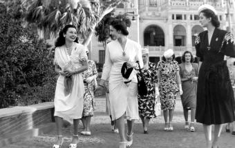 Princess Fawzia of Egypt and Princess Nasl Shah of Turkey, at the Women's Conference at the Dome Palace (photo: Mohamed El Ghazouly)