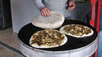 Cropped section of Manakish zaatar (photo: Serge Melki/Creative Commons Attribution 2.0 Generic (CC BY 2.0))