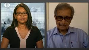 Screenshot of Nobel prize-winning economist and philosopher Amartya Sen in interview with DW (source: DW)