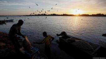Sudanese fishermen wash their catch in the Nile (photo: Reuters/Zohra Bensemra)