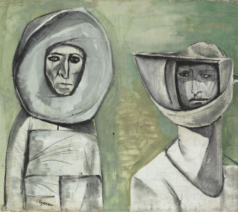 Image: Abdelhadi-El-Gazzar, Two people in space outfits, one of the 20 artworks from which poets could choose