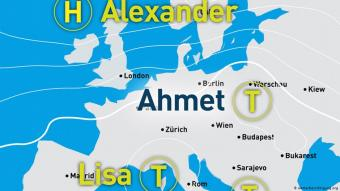 A weather map featuring Ahmet, a low pressure system (source: wetterberichtigung.org)