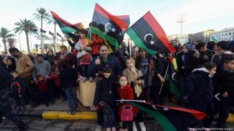 Demonstration in Tripoli celebrating the anniversary of the revolution in Libya (photo: AFP/Getty Images)