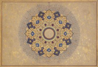 Rosette bearing the names and titles of Shah Jahan; folio from the Shah Jahan album (photo: Metropolitan Museum of Art, Public domain, via Wikimedia Commons)