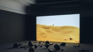 """Holy Quarter"" installation and presentation by Monira al-Qadiri, 2019 in Munich's Haus der Kunst (photo: Maximilian Geuter/HdK)"